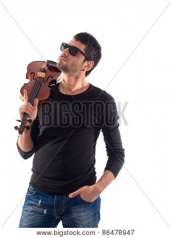 Portrait of a violinist over white background