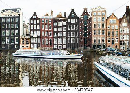 Amsterdam, Netherlands - March 2015: the landscape of the city canals
