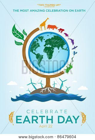 Earth Day Celebration Globe with Roaming Animals and Green Concept