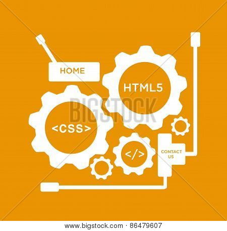 Flat Style Gears with Website Development Codes