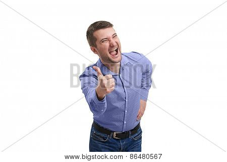 excited man showing thumbs up and screaming. isolated on white background