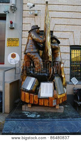 Fallen firefighters memorial in the front of New York City Fire Department Squad Company 1