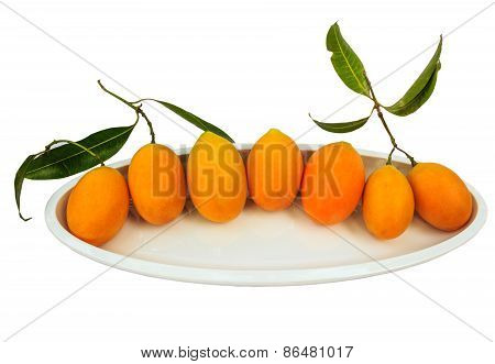 Mayongchid Maprang Marian Plum And Plum Mango Thailand Isolate Whitebackground With Clipping Path