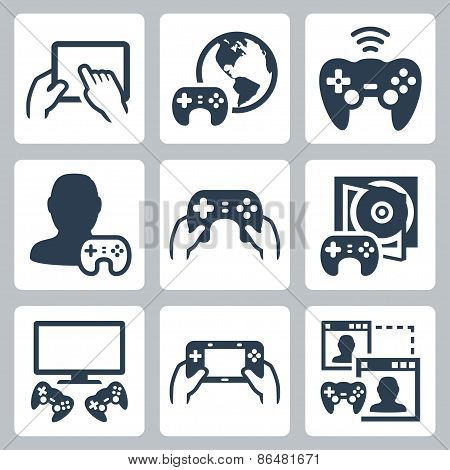 Gaming, Video Console Related Vector Icon Set