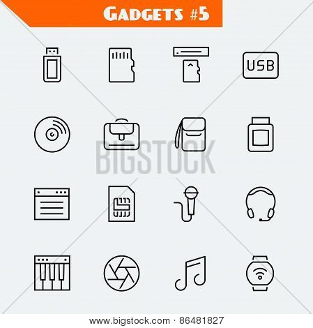 Computer Accessories And Gadgets Icon Set
