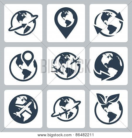World Globe Related Vector Icon Set