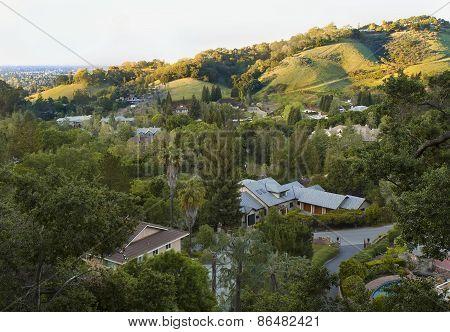 California Spring Green Hills Before Sunset