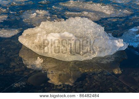 Ice on the shore of glacier lake