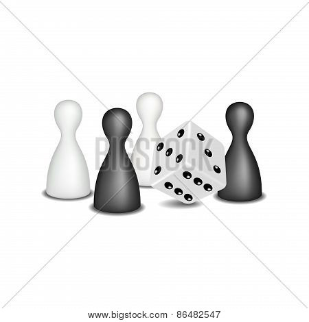 Board game figures and dice in black and white design