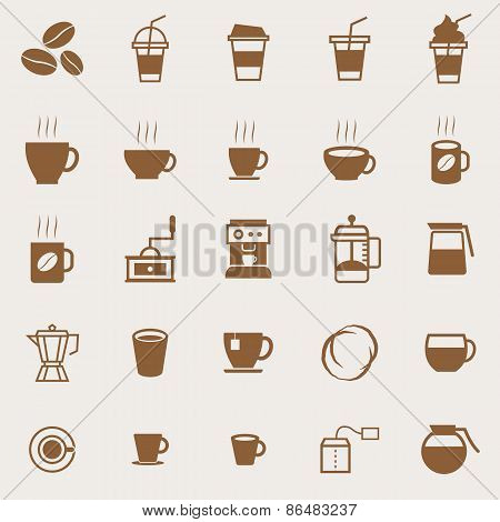 Coffee Color Icons On Light Background