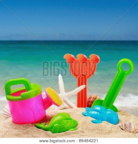 Childrens Toys In The Sand