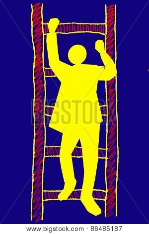 Man On A Ladder, Success Ladder Concept