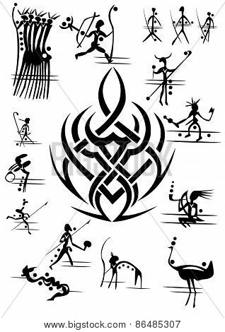silhouette picture abstract cave people or hunters with pattern symbol