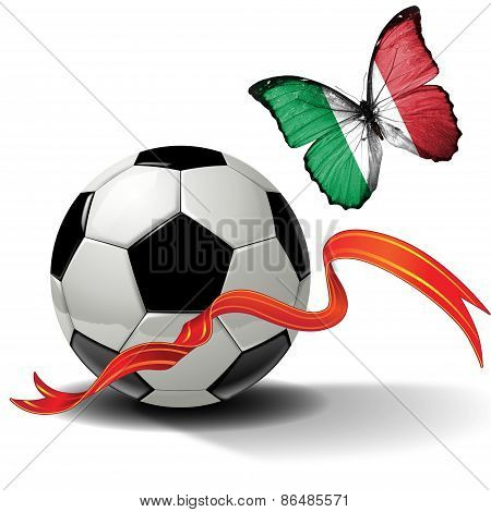 Soccer ball with ribbon and butterfly with the flag of  Italy