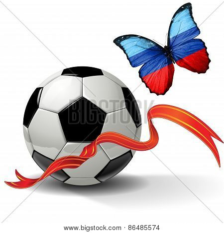Soccer ball with ribbon and butterfly with the flag of  Lugansk People's Republic