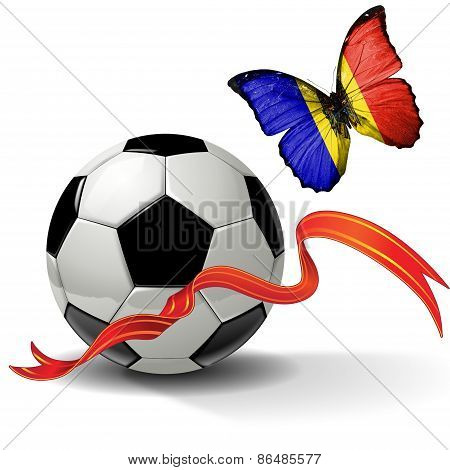 Soccer ball with ribbon and butterfly with the flag of Moldova