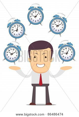 Businessman juggling with alarm clocks, symbolizing time management.