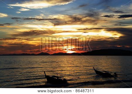 Sunset on Andaman sea, Ao Nang beach, Thailand.