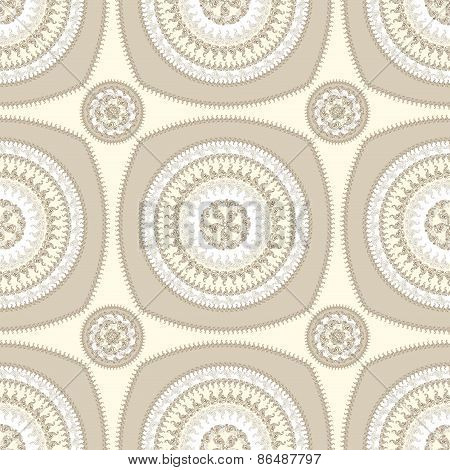 Seamless pattern with circle ornament  in beige