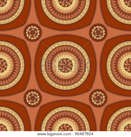 Seamless pattern with circle ornament  in brown