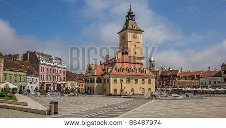 Panorama Of City Hall On The Piata Sfatului In Brasov