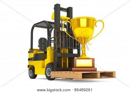 Forklift Truck Moves Golden Trophy
