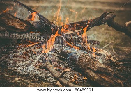 Fire Flame wooden camp burning Outdoor