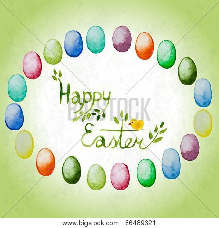 Easter Card With Watercolor Colorful Eggs And Lettering.