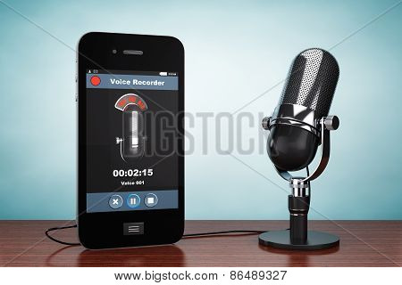 Old Style Photo. Mobile Phone As Voice Recorder With Microphone