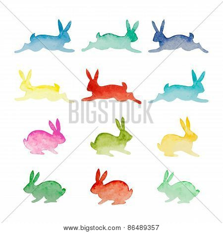 Set Of Vector Watercolor Colorful Rabbits Isolated On White Background