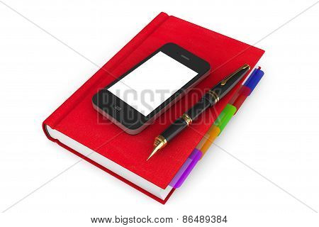 Red Organizer Notebook With Mobile Phone And Pen