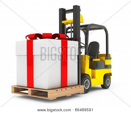 Forklift Truck Moves Huge Gift Box