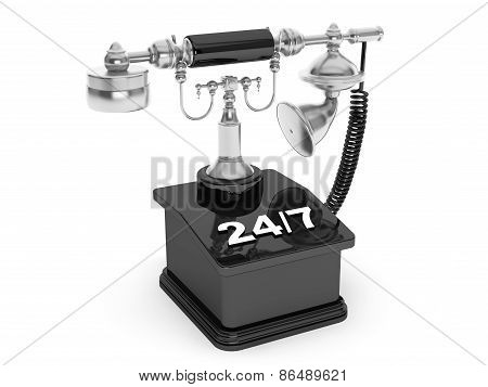 Retro Phone. Vintage Telephone With 24/7 Sign