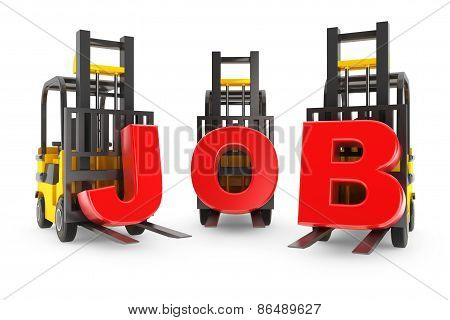 Forklift With Job Letters