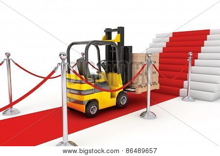 Red Carpet And Barrier Rope With Forklift And Boxes