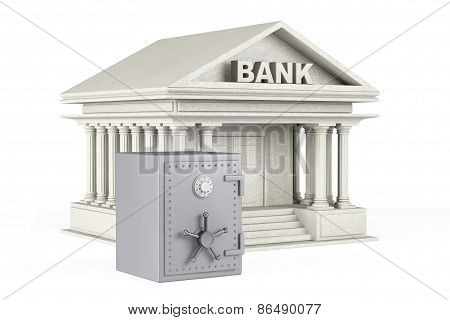 Protect Money Concept. Metal Safe And Bank Building
