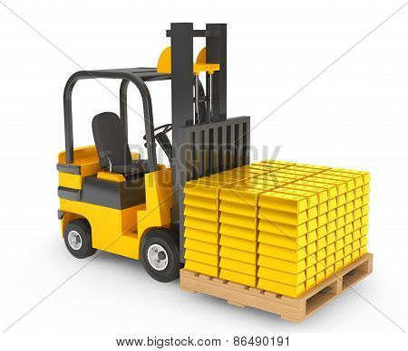Forklift Truck Moves Golden Bars