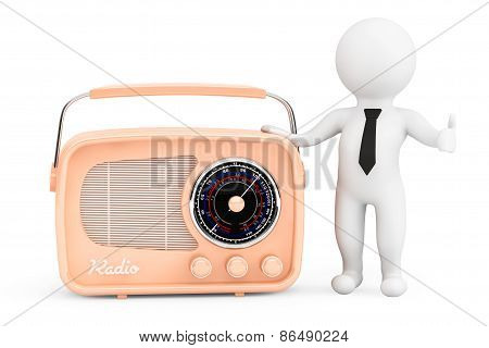 3D Person With Vintage Radio