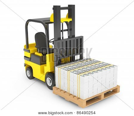 Forklift Truck Moves Stacked Dollars