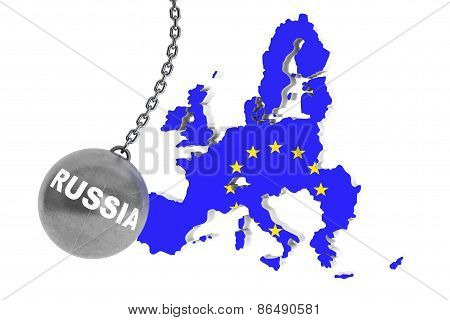 Russia Destroy Europe Concept