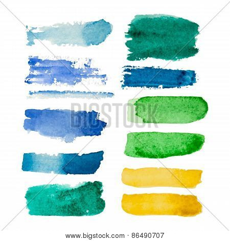 Set Of Watercolor Vector Rectangular Spots