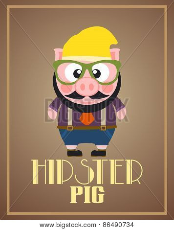 Funny hipster pig