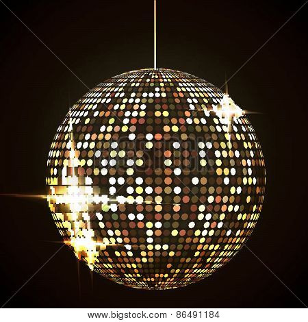 mirror disco ball vector illustration EPS10. Transparent objects and opacity masks used for shadows