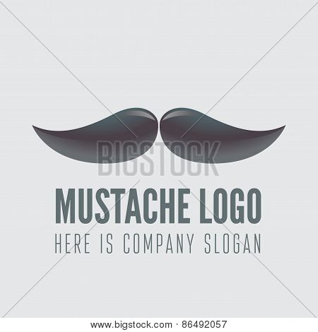 Logo, label, badge, emblem or logotype element with mustache for business, corporation or web
