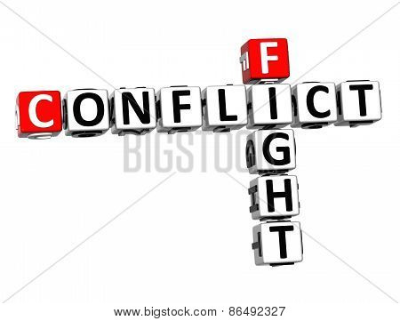 3D Crossword Conflict Fight On White Background