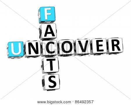 3D Crossword Facts Uncover On White Background