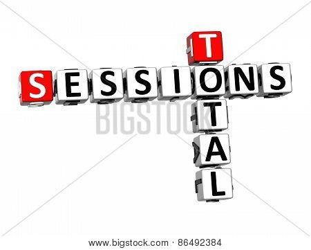 3D Crossword Total Sessions On White Background