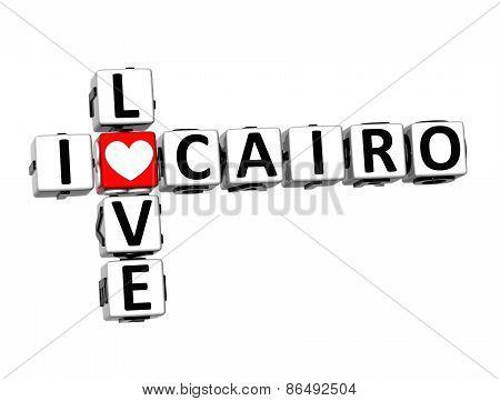 3D Crossword I Love Cairo On White Background