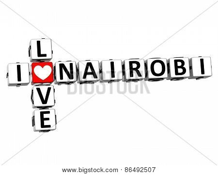 3D Crossword I Love Nairobi On White Background