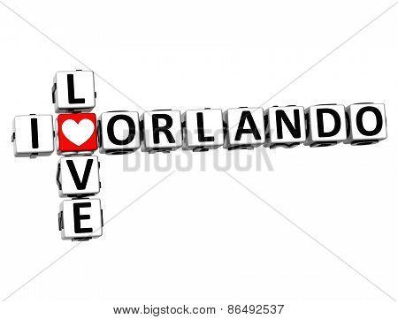 3D Crossword I Love Orlando On White Background